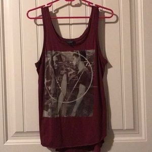 Red tank top with graphic